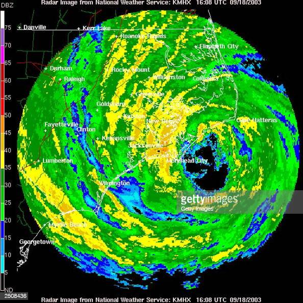 This is a handout of a NOAA Doppler radar image of Hurricane Isabel taken September 18 at 1208 pm EDT The NOAA National Hurricane Center in Miami...