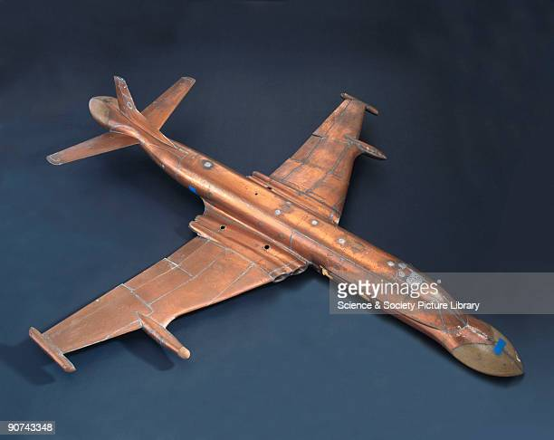 This is a model of the Hawker Siddeley/British Aerospace Nimrod AEW3 aircraft It has been clad in copper for the evaluation of radio/radar aerial...