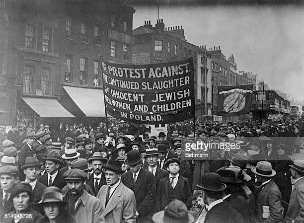 This is a photo of a Jewish protest in London against the reported massacre of Jews in Poland