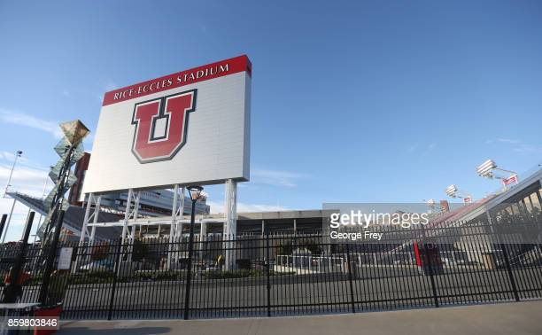 This is a photo of Rice Eccles Stadium before the start of an college football game against the Utah Utes and Stanford Cardinal on October 7 2017 in...
