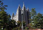 This is a picture of the historic Salt Lake Mormon Temple during the184th Semiannual General Conference of the Church of Jesus Christ of LatterDay...