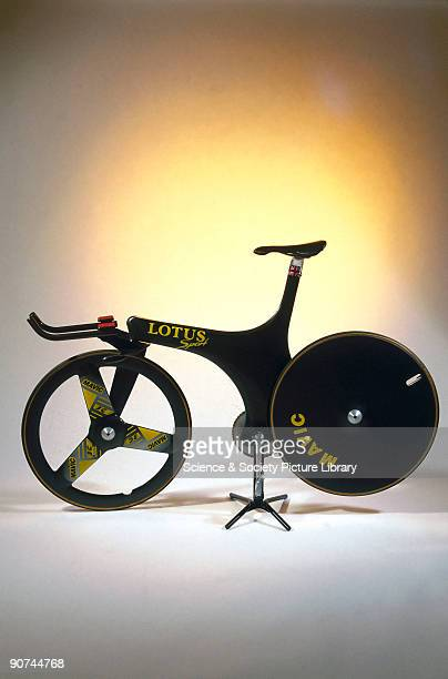 This is a replica made by Lotus Engineering of the bicycle on which the British racer Chris Boardman won the Gold Medal in the 4km pursuit event at...