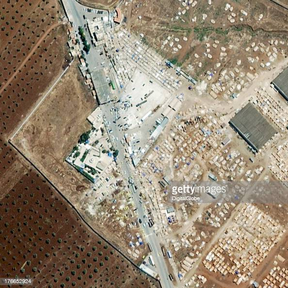 REFUGEES SALEMEH SYRIA AUGUST 16 2013 This is a satellite image of a border crossing in Syria were refugees are trying to leave the country