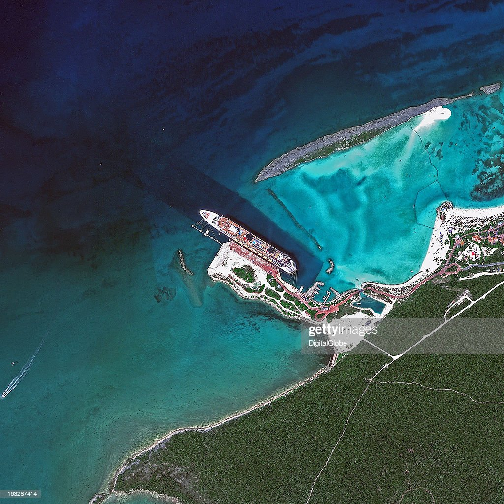 This is a satellite image of a docked cruise ship in Castaway Cay, Bahamas, a private island exclusive port. Collected on September 25, 2012.