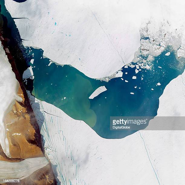 This is a satellite image of a massive iceberg calving from the Petermann Glacier in Greenland collected on July 19 2012