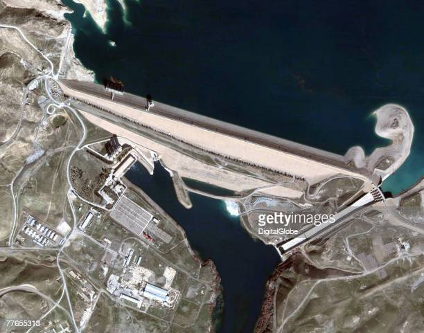This is a satellite image of a Mosul Dam February 11 2007 in Mosul Iraq A US audit report released October 30 2007 about the dam stated that it is at...