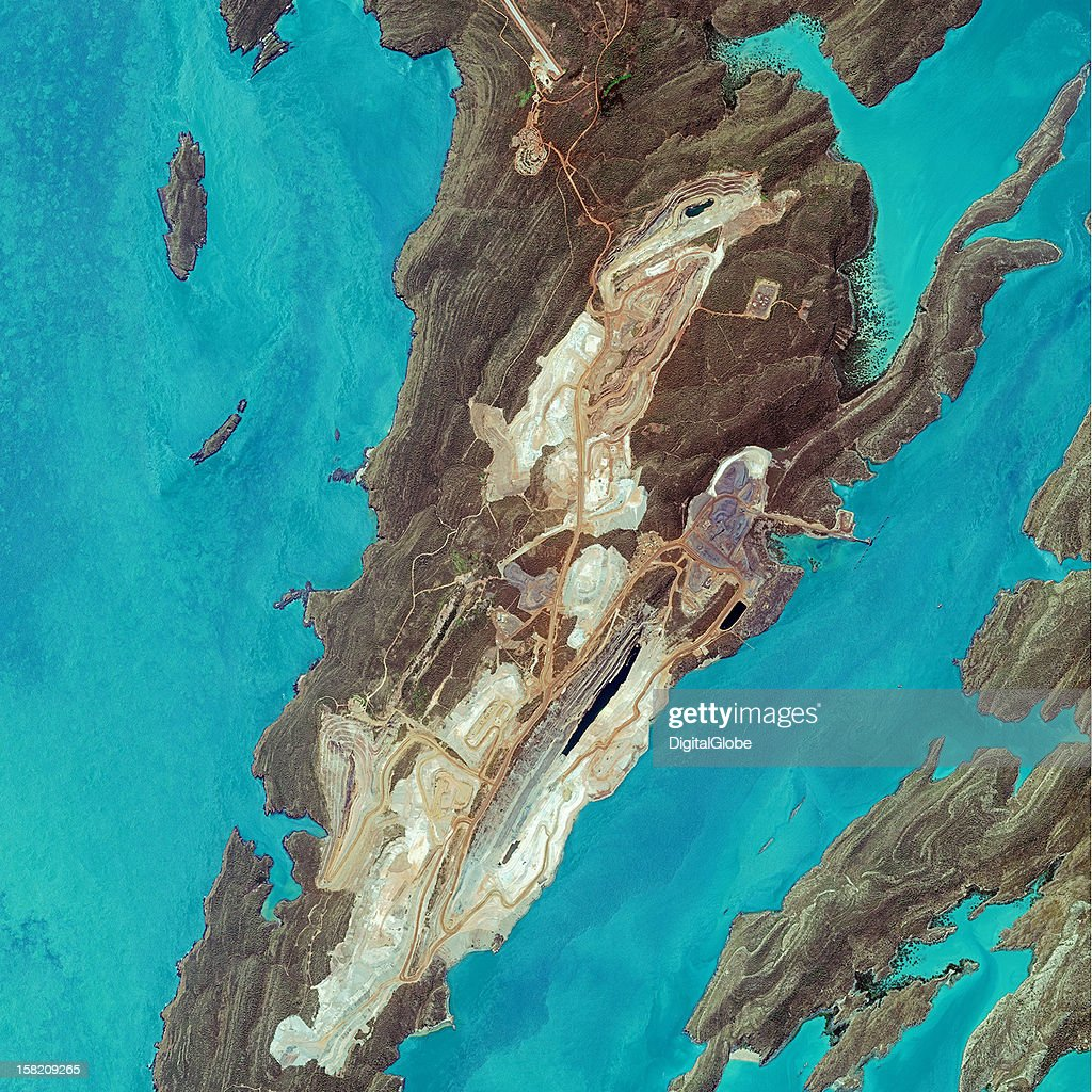 This is a satellite image of an iron ore mine on Koolan Island, Australia, collected on September 19, 2012.