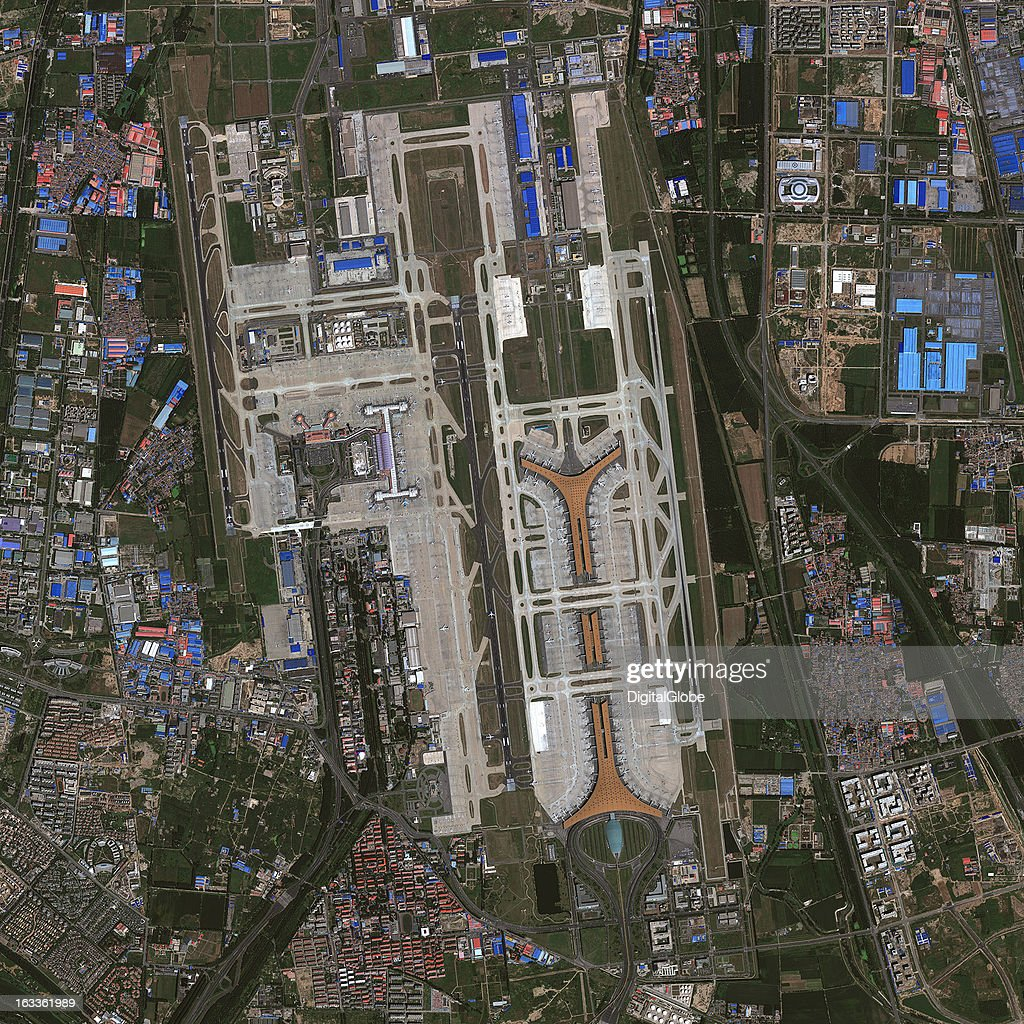 AIRPORT, BEIJING, CHINA - SEPTEMBER 15, 2012: This is a satellite image of Beijing Capital International Airport in Beijing, China. Collected on September 15, 2012.