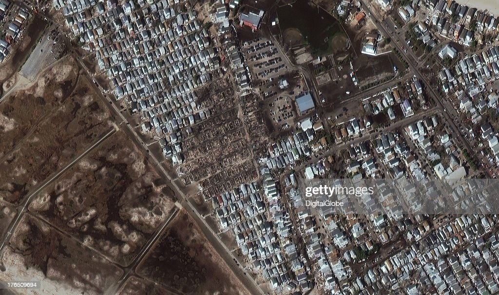This is a satellite image of damage cause by Hurricane Sandy, Breezy Point, New York, United States collected on november 4, 2012.