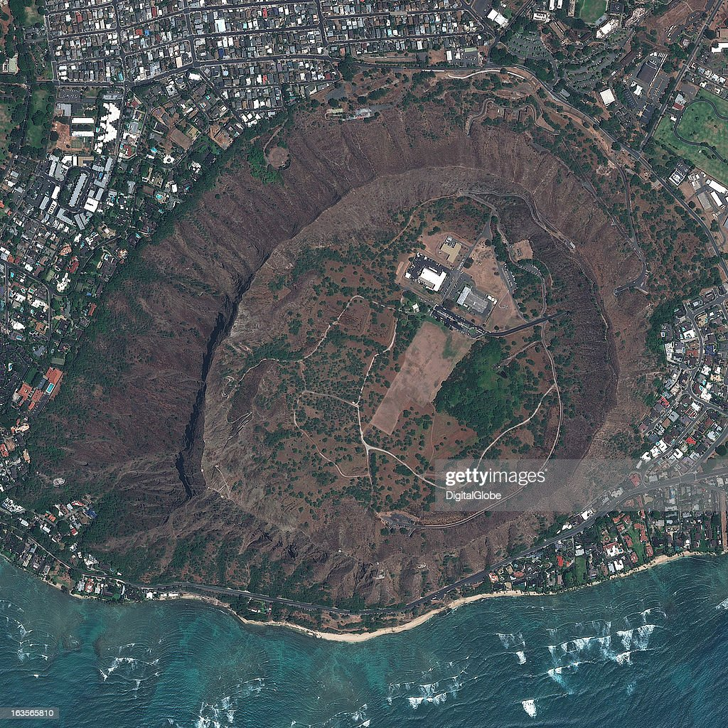 This is a satellite image of Diamond Head, Honolulu, Hawaii, United States a former active volcano. Collected on June 23, 2012.