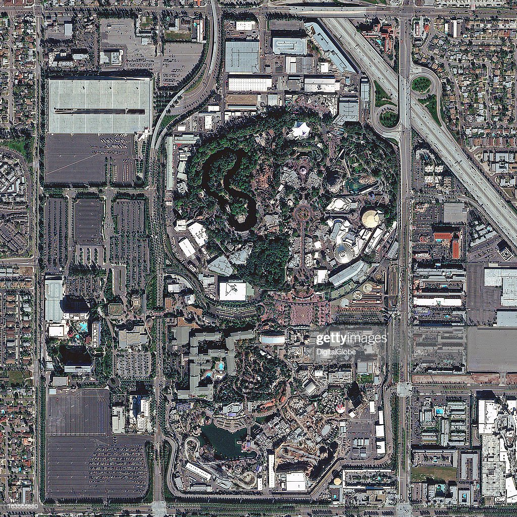 This is a satellite image of Disneyland Park, Anaheim, California, United States, dedicated in July 1955 and the first of the Disney parks. Collected on February 5, 2012.