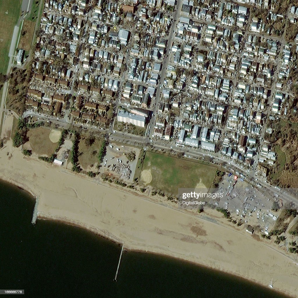 This is a satellite image of Hurricane Sandy damage in Midland Beach, New York, United States collected on November 4, 2012.