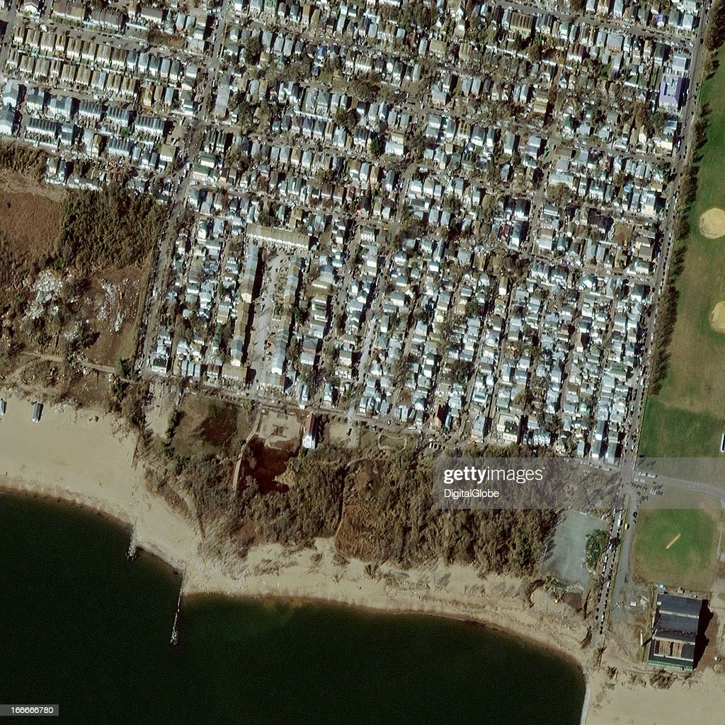 This is a satellite image of Hurricane Sandy damage in New Dorp Beach, New York, United States collected on November 4, 2012.