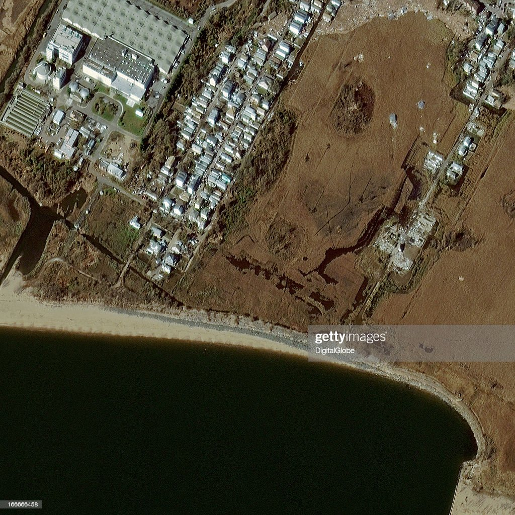 This is a satellite image of Hurricane Sandy damage in Oakwood Beach, New York, United States collected on November 4, 2012.
