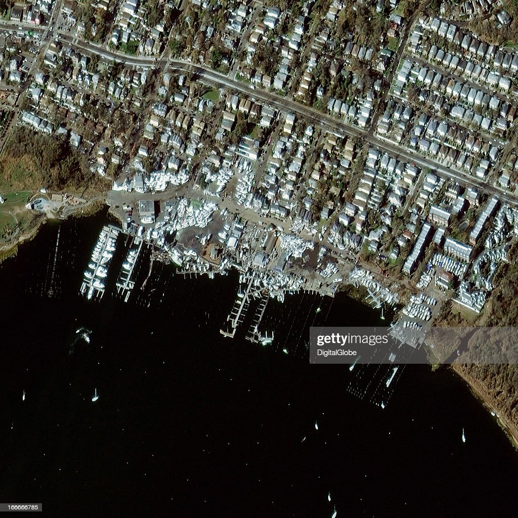 This is a satellite image of Hurricane Sandy damage in Richmond Yacht Club, New York, United States collected on November 4, 2012.