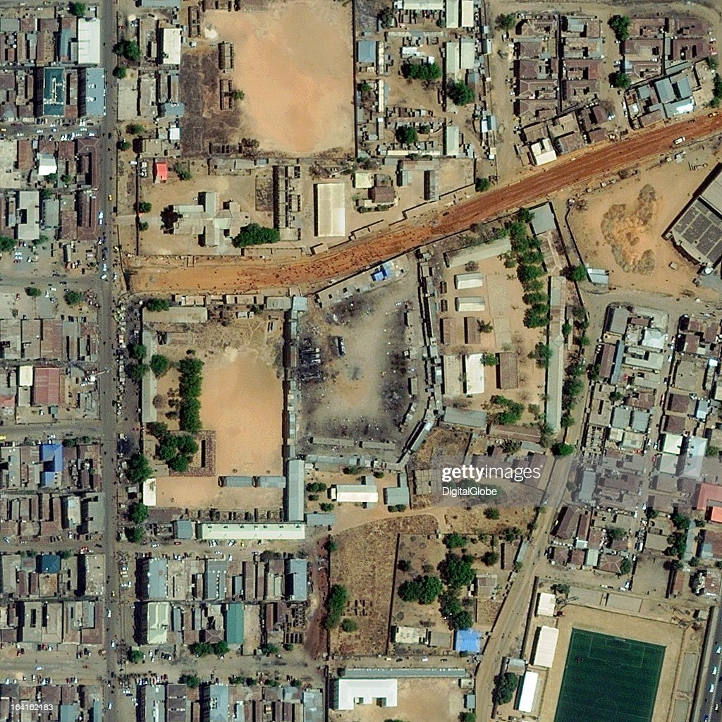 KANO, NIGERIA - MARCH 20, 22013 This is a satellite image of Kano, Nigeria shows the location of a suicide car bomb detonated at a bus station on March 19, 2013.