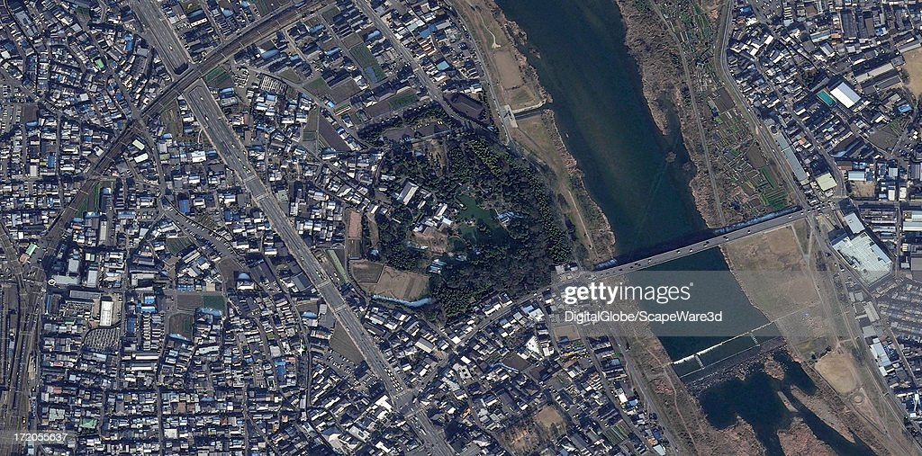 This is a satellite image of Katsura Imperial Villa near Kyoto, Japan collected on January 17, 2011.
