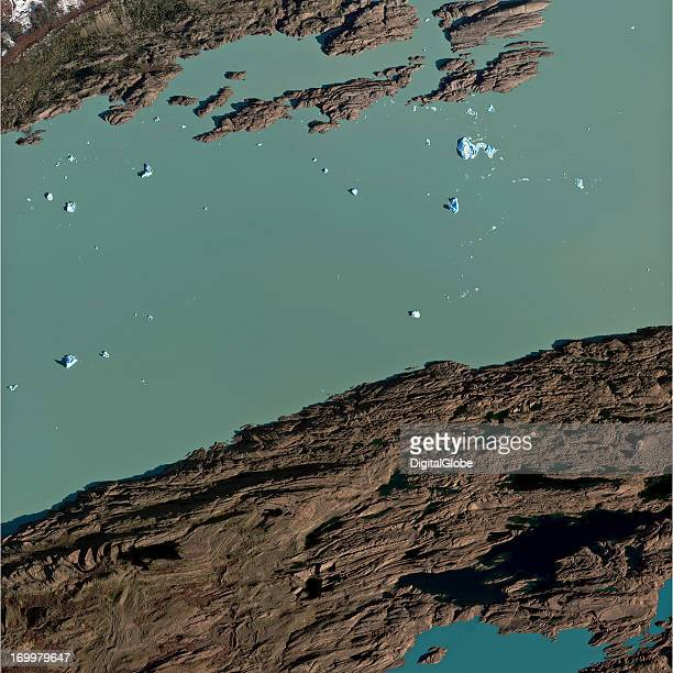 This is a satellite image of Lake Argentino in Los Glaciares National Park