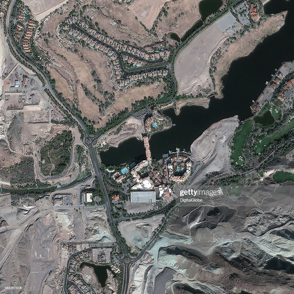 This is a satellite image of Lake Las Vegas, Herderson, Nevada, United States, an artificail lake with casino, hotel and residential buildings. Collected on November 19, 2012.