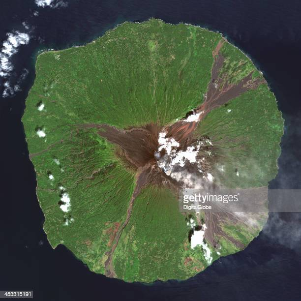 This is a satellite image of Manam Volcano Madang Province Papua New Guinea collected on March 22 2013