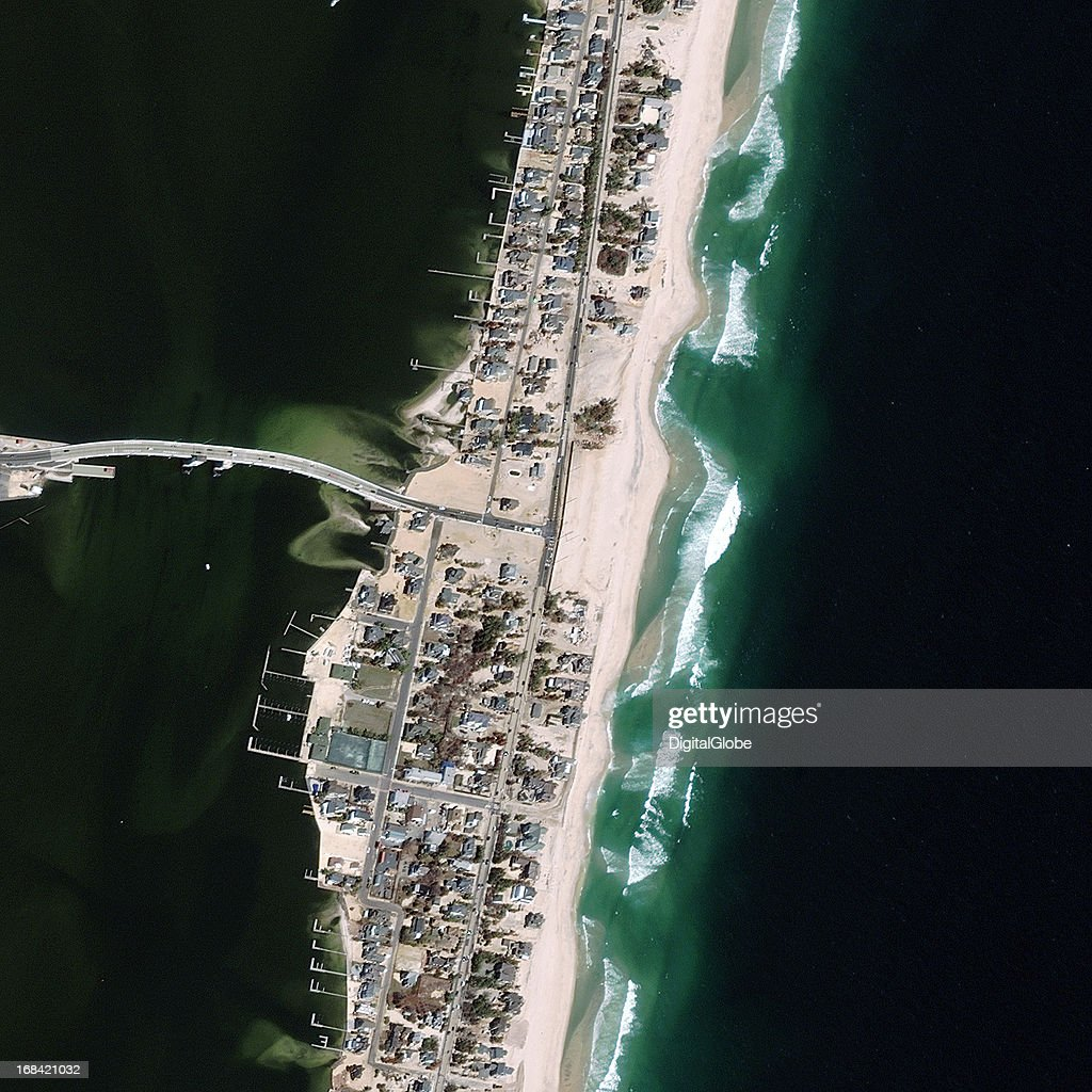 This is a satellite image of Mantoloking Beach. This area was hit by Hurricane Sandy on November 4, 2012.
