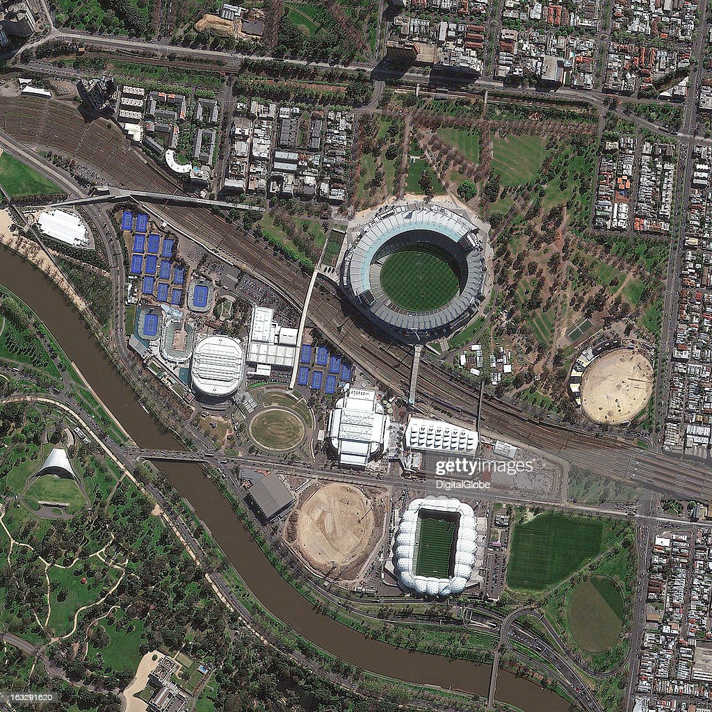 PARK, MELBOURNE, AUSTRALIA - SEPTEMBER 26, 2012: This is a satellite image of Melbourne Park, built in 1988 and home to the Australian Open tennis tournament in Melbourne, Australia. Collected on September 26, 2012.