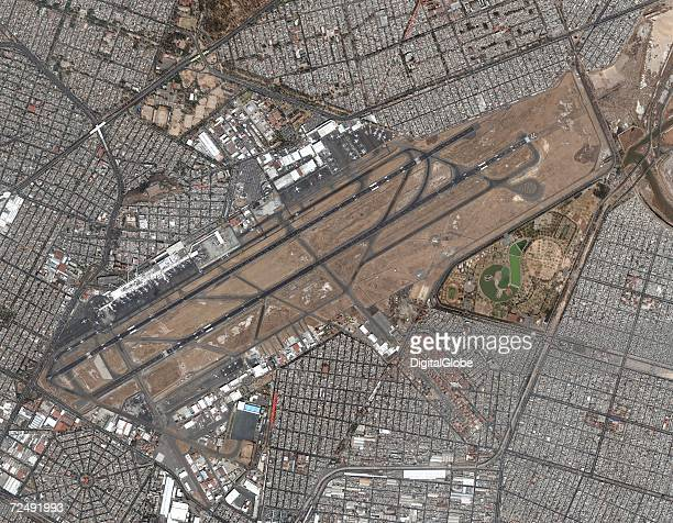 This is a satellite image of Mexico City International Airport Mexico collected on February 6 2002