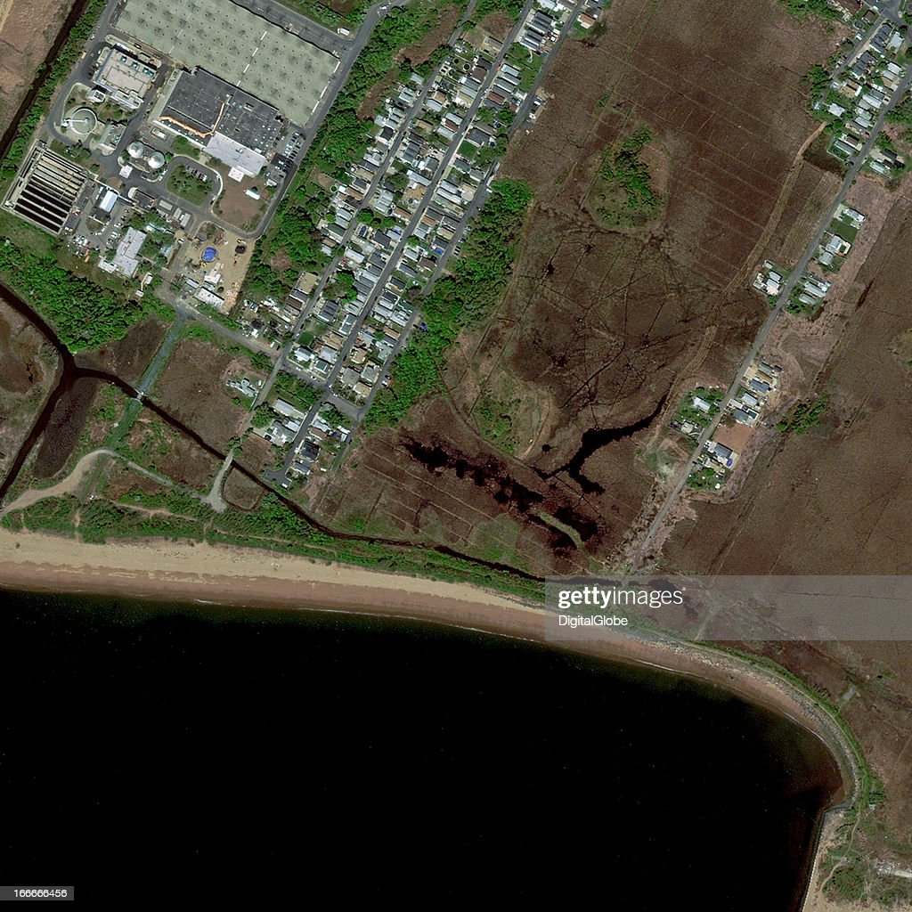This is a satellite image of Oakwood Beach, New York, United States collected on April 19, 2012.