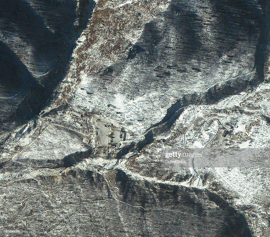 This is a satellite image of Punggye-ni Nuclear Test Facility in North Korea collected on February 13, 2013, a day after a reported nuclear test was conducted here.