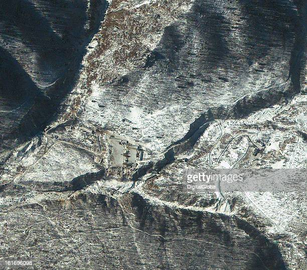 This is a satellite image of Punggyeni Nuclear Test Facility in North Korea collected on February 13 a day after a reported nuclear test was...
