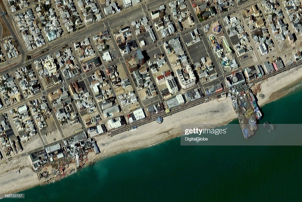 This is a satellite image of Seaside Height after Hurricane Sandy caused severe damage to the Jenkinson's Breakwater Beach Waterpark and Casino Pier and the Funtown Pier.