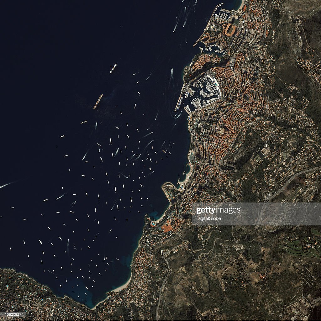 This is a satellite image of the annual yacht show in Monte Carlo, Monaco, collected on September 22, 2012.