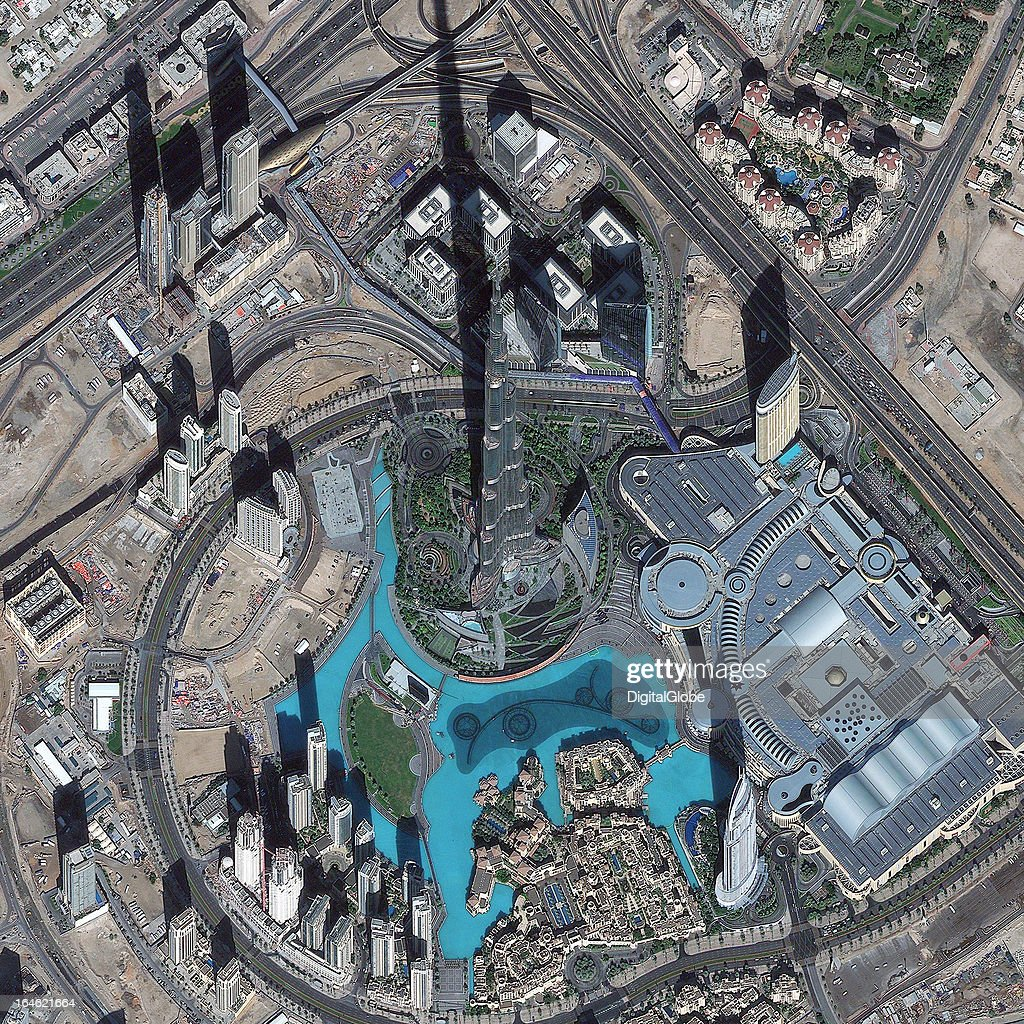 This is a satellite image of the Burj Khalifa, Dubai, United Arab Emirates, the tallest man-made structure on earth, collected on December 18, 2012.