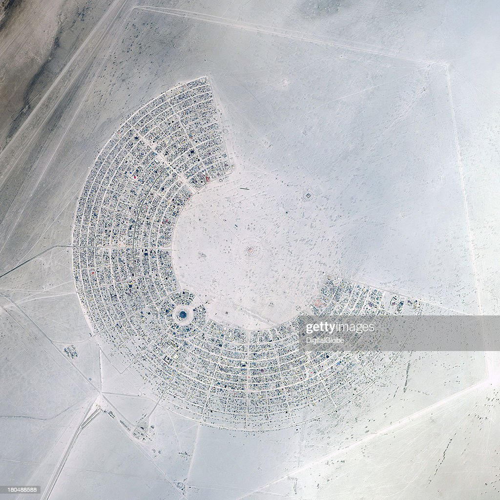 This is a satellite image of the Burning Man Festival, Black Rock City, Nevada, United States collected on August 27, 2013.