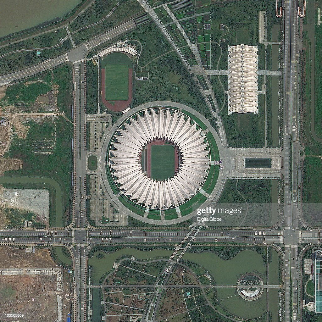 This is a satellite image of the Century Lotus Stadium, Foshan, China, hosting the 2010 FIFA World Cup. Collected on April 23, 2012.