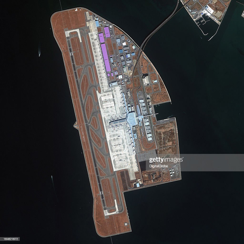 AIRPORT, TOKONAME, AICHI, JAPAN - MARCH 7, 2013: This is a satellite image of the Chubu Centrair International Airport, Tokoname, Aichi, Japan, serving the Nagoya area, this is built upon an artificial island, and is the 8th busiest in the nation, collected on March 7, 2013.