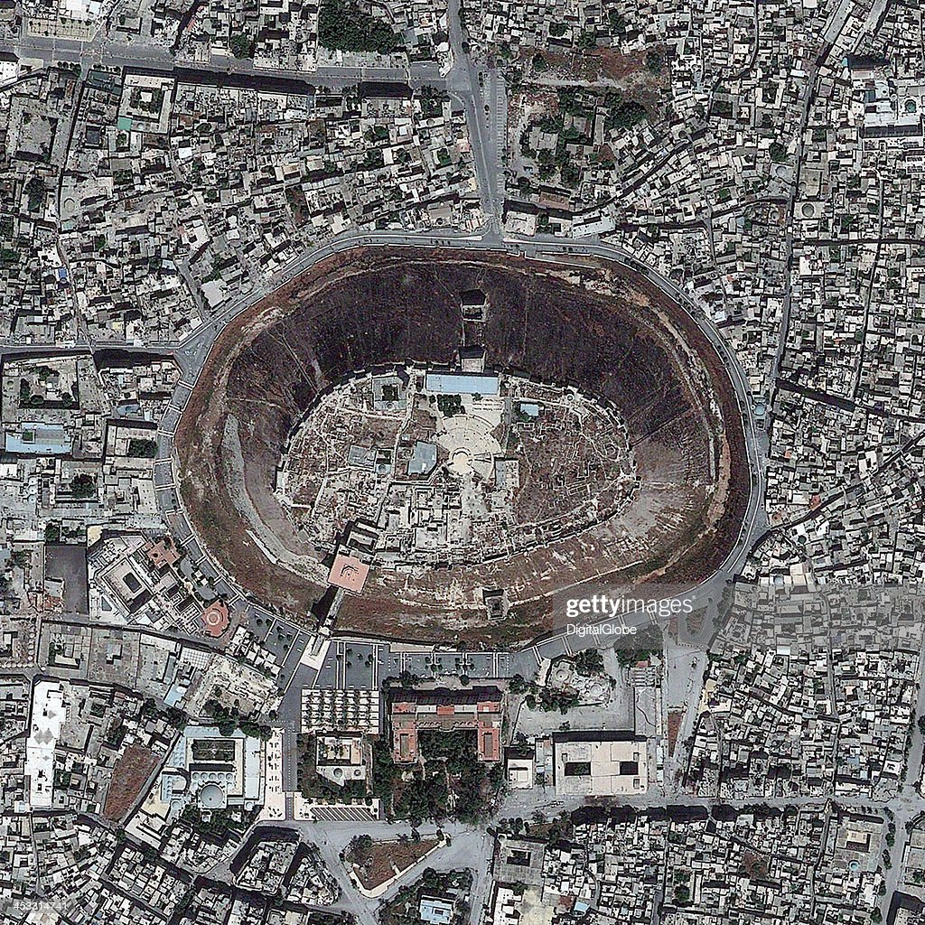 THE CITADEL ALEPPO SYRIA MAY 26 2013 This is a satellite image of The Citadel Aleppo Syria collected on May 26 2013