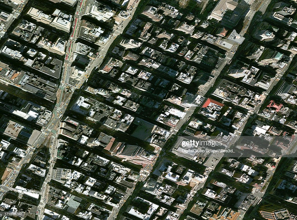 This is a Satellite Image of the Empire State Building casting a long shadow. Imagery captured March 26th, 2011.