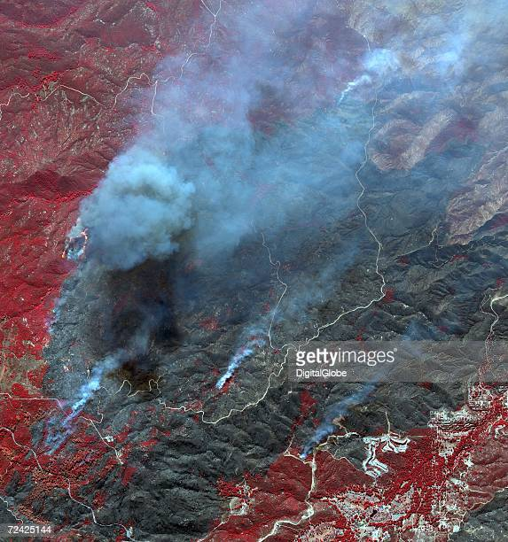 This is a satellite image of the Esperanza Fire in Twin Pines California collected on October 27 2006