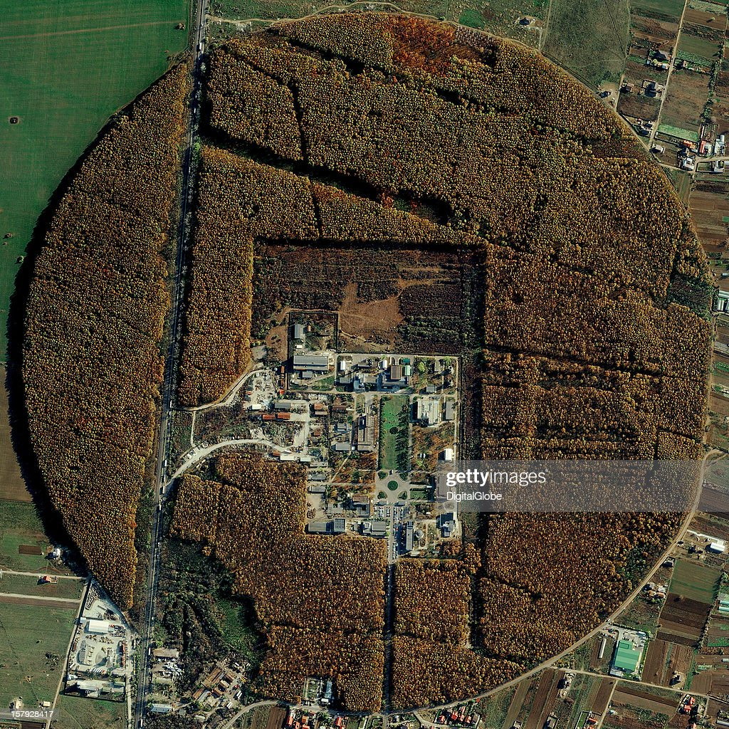 This is a satellite image of the Horia Hulubei National Institute of Physics and Nuclear Engineering (IFIN-HH). The IFIN-HH was Eastern Europe's first research nuclear reactor, which operated until 1998. The decommissioning of the reactor is expected to be complete in 2019. The IFIN-H is currently part of A Large Ion Collider Experiment (ALICE).