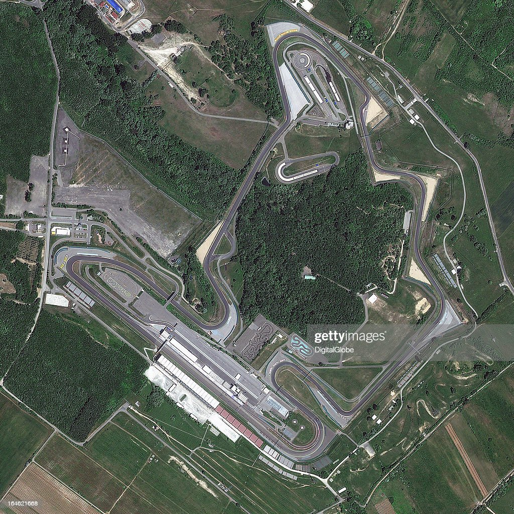 THE HUNGARORING, MOGYOROD, PEST, HUNGARY - MAY 24, 2011: This is a satellite image of The Hungaroring, Mogyorod, Pest, Hungary, the track for the Formual One Hungarian Grand Prix, collected on May 24, 2011.