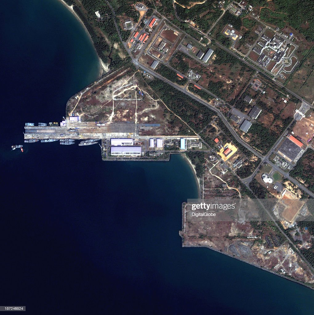 This is a satellite image of the Karwar Naval Base (INS Kadamba) under development along the Arabian Sea along the west coast of India's Karnatake Province collected on November 13, 2012. Once complete in 2019, Karwar Naval Base will relieve congestion at Mumbai and provide berthing of India's largest ships, including the INS Vikramaaditya aircraft carrier.