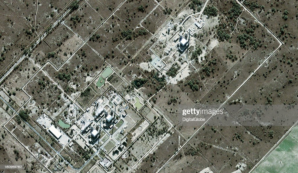 This is a satellite image of the Khushab reactor in Paksitan. The image features the completed Reactors 2 and 3 with steam rising from the site, as well as Reactor 4, which is under construction.