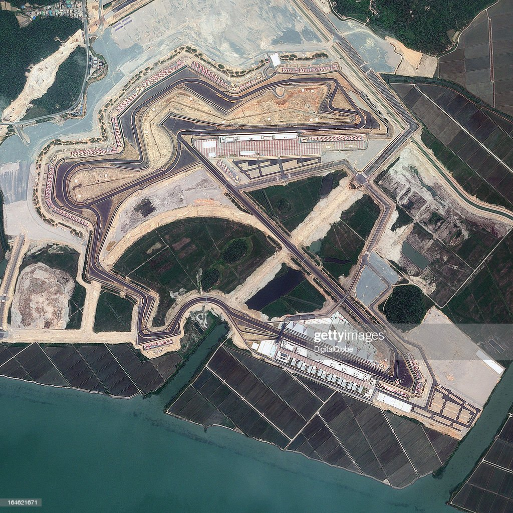 This is a satellite image of the Korea International Circuit, Yeongam, South Jeolla, South Korea, the venue for the Formula One Grand Prix, collected on June 5, 2011.
