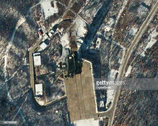 This is a satellite image of the launch pad at the Sohae Satellite Launch Station 54 minutes after the launch of North Korea's second Unha 3 space...