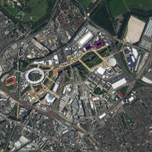 This is a satellite image of the Olympic Village in London United Kingdom collected on July 23 2012