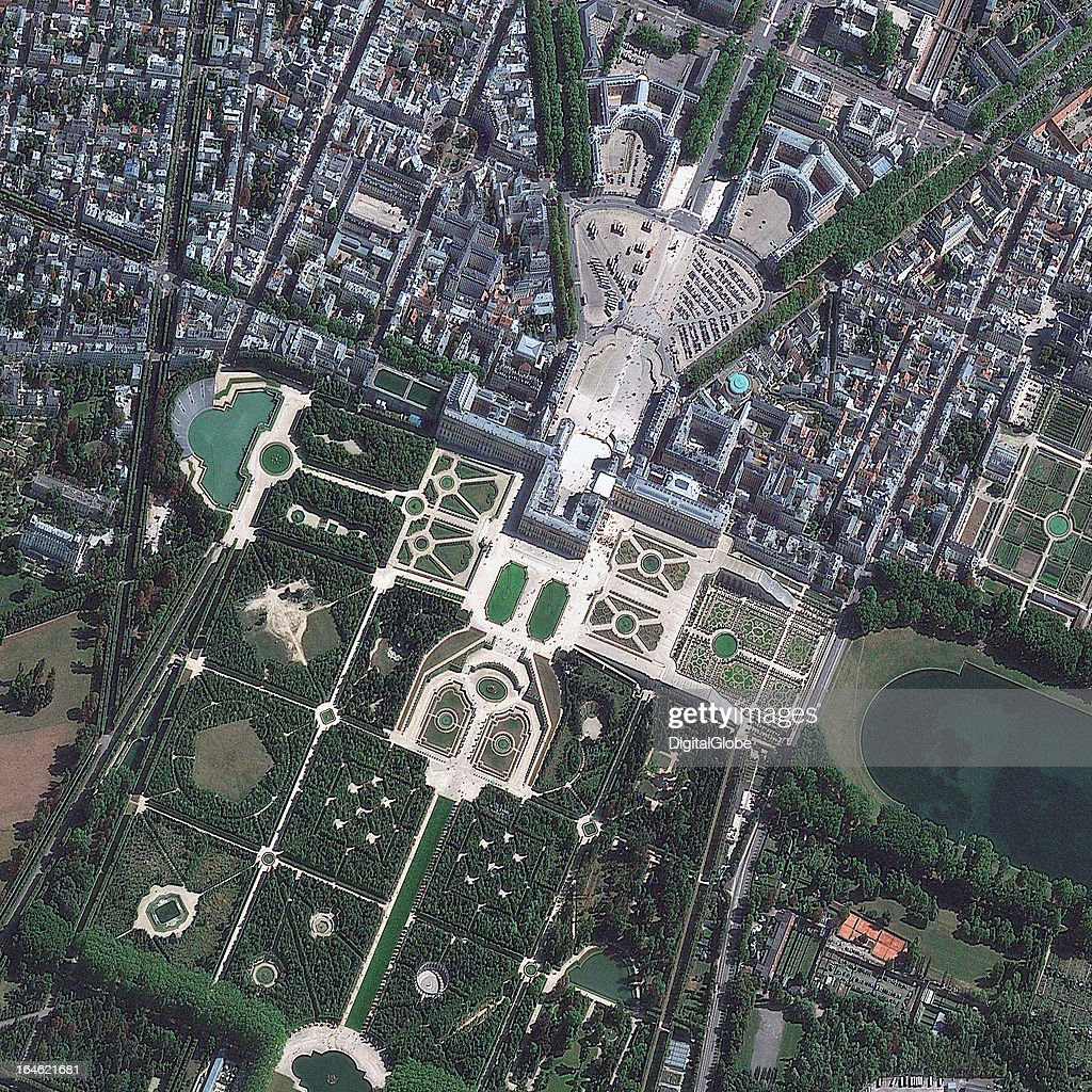VERSAILLES, VERSAILLES, FRANCE - SEPTEMBER 19, 2009: This is a satellite image of the Palace of Versailles, Versailles, France, originally built as a country village, later became a grand palace for the royal family, collected on September 19, 2009.