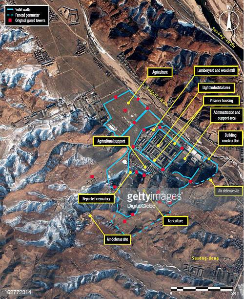 This is a satellite image of the perimeter and stratgically placed guard towers at Camp 25 in North Korea