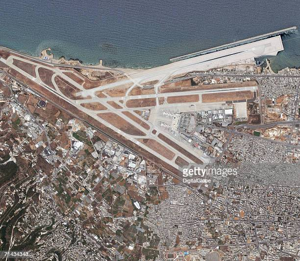 This is a satellite image of the Rafik Hariri International Airport in Beirut Lebanon collected on June 19 2006