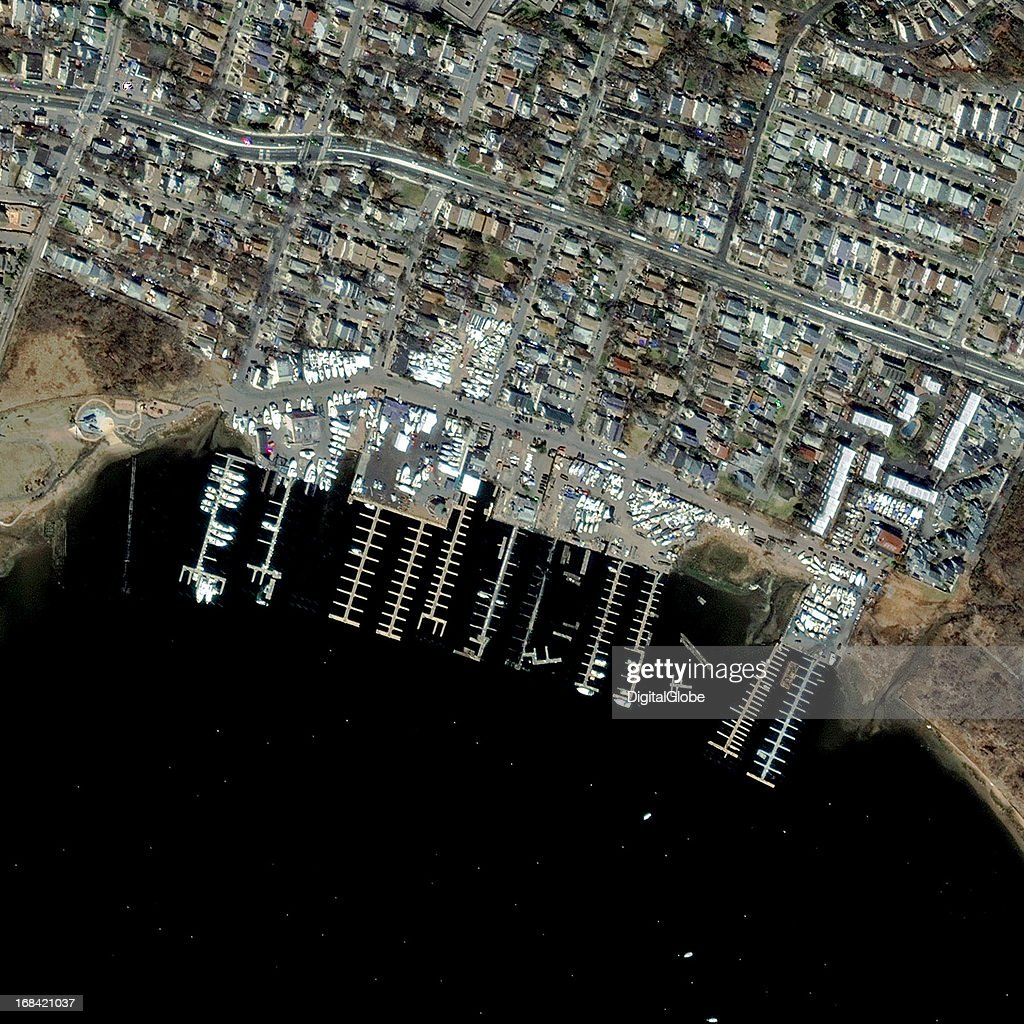 This is a satellite image of the Richmond Yacht Club. This area was affected after it was hit by Hurricane Sandy on November 4, 2012.